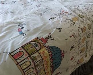 Custom Schumacher fabric bedroom set.  Curtains, bedspread and bed skirt