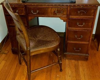 Knee hole desk & rush seat side chair