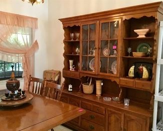 Dining table with chairs & two extra leaves, matching china cabinet