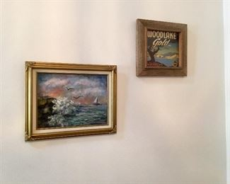 Oil painting and old framed packing crate label