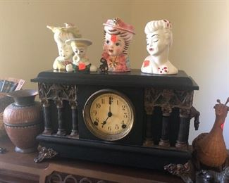 antique clock, head vases