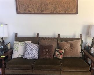 retro wood and velvet sofa