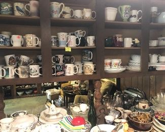 collection of coffee mugs, kitchen items