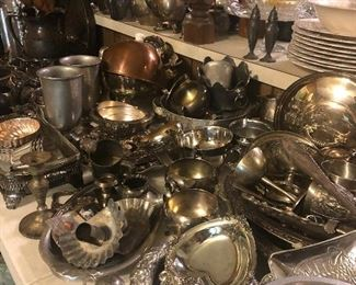 large amount of serving pieces, silver plate items and cake pans