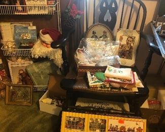 arm chair, Christmas decor, ornaments, snow villages, nativity sets, nutcrackers