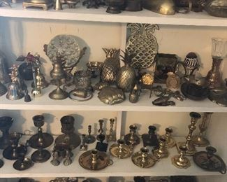 brass candle holders, paper weights, figurines