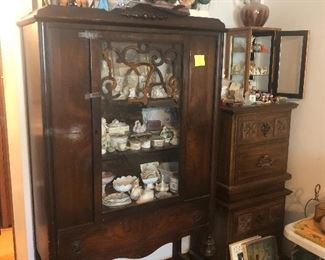 vintage china cabinet, night stands, small curio cabinet