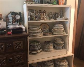 collectible plates, bookshelves