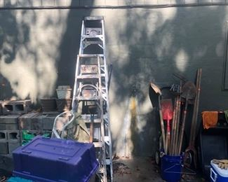 step ladders, gardening tools