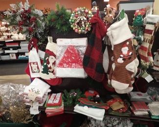 Christmas Stockings/Hats/Linens.  Most still have tags.
