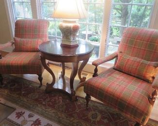 Baker Living Room French Cigar Chairs & Round Accent Table (Lamp not for sale)