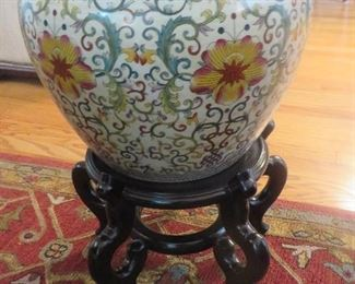 Large Chinese Porcelain Fishbowl with Stand