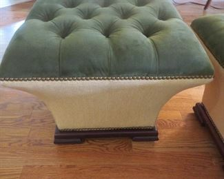 Tufted Concave Hassock  Velvet Top and contrasting Fabric  Baker Furniture Milling Road