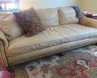 "Ralph Lauren Leather Sofa Aran Isles Collection Back Pillows and Cushion are down filled 34.75"" H x 92.5"" W x 41"" D"