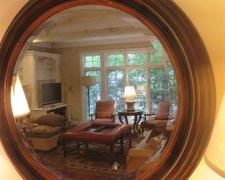 Round Wood Beveled Wall Mirror with Gold Accents Baker Furniture Milling Road
