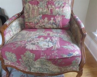 Baker French Louis XV Style Bergere Chair in Chinoiserie Fabric Baker furniture Company