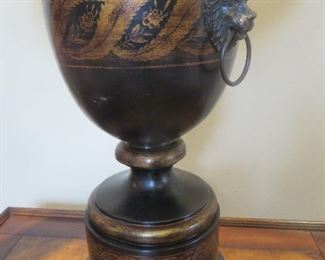 Black Urn lamp with Lion Knockers (details) Gold Accents