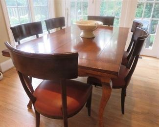 "French Country Maple Extension Table & 6 Chairs Baker Furniture Milling Road Distressed Look w/ Refectory Leaves  31"" H x 70"" W x 42"" D  (129"" w/ Leaves)"