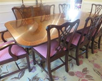 "Henkel Harris Chippendale Mahogany Dining Table & 8 Chairs				 Table 29.5"" H x 46"" W x 75"" Long  (Two 22"" w/ Leaves)"