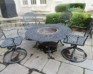 5PCs Aluminum Fire Pit Patio Seating Table & Chairs