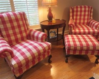 Chippendale Wing Back Chair Large Red Check Custom Upholstery Chippendale Ottoman