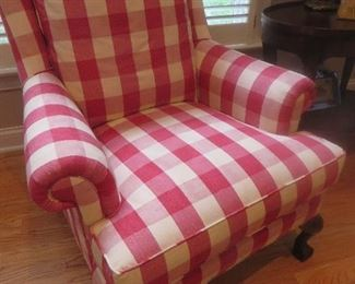 Chippendale Wing Back Chair Large Red Check Custom Upholstery
