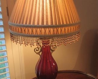 Burgundy Porcelain Table Lamp with Fancy Beaded Shade