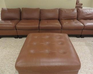 5 pcs Leather Sectional Sofa Walter E. Smithe Leather Ottoman