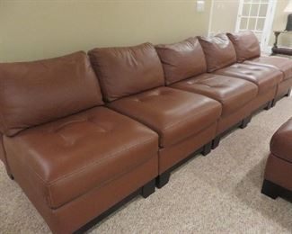 5 pcs Leather Sectional Sofa Walter E. Smithe