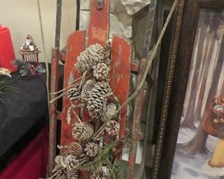 Vintage Holiday Decorated Sled