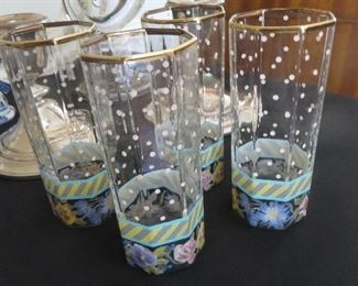 Octagonal Glass Juice Tumblers GARLAND Polka Dots (set of 4) MacKenzie Childs Vintage pre 2000