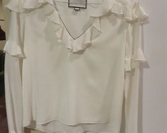 Alexis Alvinna Deep-V Blouse with Ruffled Trim