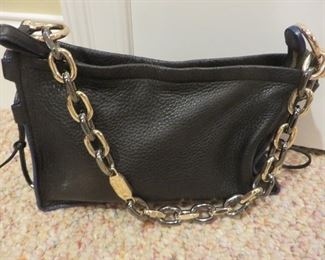 Black Leather Purse with Gold Chain Strap  Stuart Weitzman