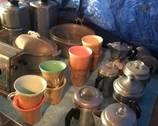 Aluminum coffee pots and misc. kitchen items