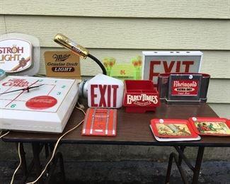 Clocks, signs, Beer napkin holders
