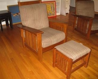 Pair of Morris chairs and stools.