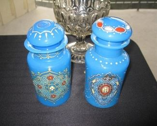 Pair of Czechoslovakian blue opaline jars