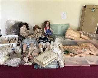 Misc dolls, clothes, wigs, patterns etc