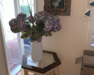 Side table,  Flowers in Vase, Painting on silk in frame