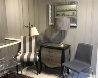 Multiple Chairs Modern, Transitional, Antique, bombe side hall table Antique silver mirror, multiple lamps decor