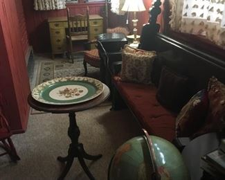 Gothic Pew, side tables, French trays, decor, antique globe, rugs, desks, chairs, artwork, needlepoint and multiple decorative pillows, table and floor lamp brass jade,