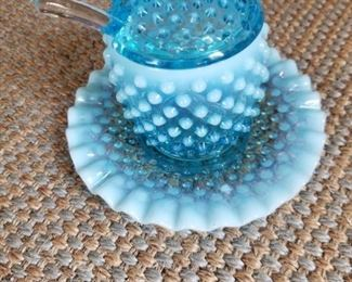 Blue opalescent Fenton hobnail condiment server