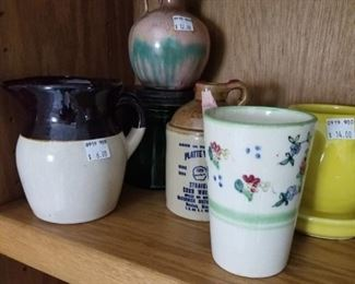 Assortment of vintage art pottery