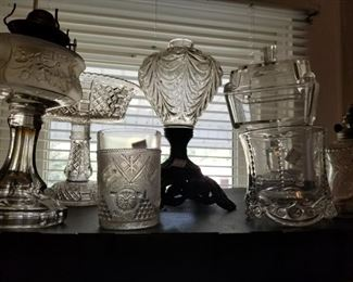 Assortment of early American pattern glass including an Admiral Dewey Tumbler