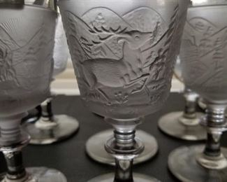 Set a rare early American pattern glass running deer goblets