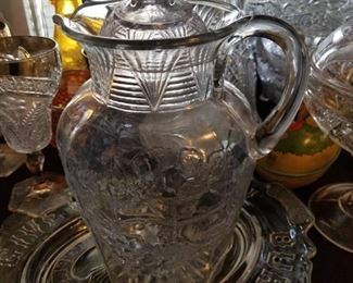 Early American pattern glass pitcher with lid
