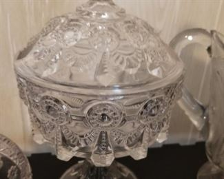 Early American pattern glass Alabama covered compote