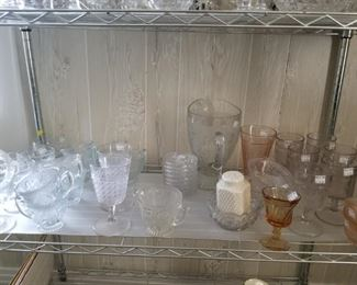 Assortment of Iris glass, pink depression glass, an early American pattern glass