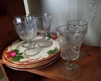 Selection of early American pattern glass goblets and Apple by Franciscan and dinnerware