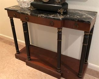 Italian Empire style mahogany breakfront console with Nero Portovo marble top